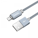 USB кабель HOCO U40A Magnetic Adsorption Micro Charging Cable (L=1M) круглый в оплетке (серый)