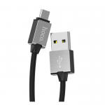 USB кабель HOCO U49 Refined Steel Charging Data Cable For Micro USB (L=1M) (черный)
