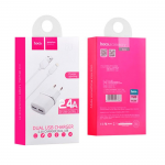 СЗУ HOCO C12 Smart Dual USB (Lighting Cable) Charger Set (EU) 2*USB 2,4A (белое)