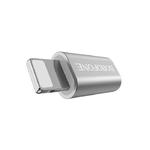 Переходник 8 pin - микро USB(f) Borofone BV5, плоский, алюминий, цвет: серебряный