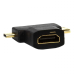 Переходник микро HDMI, мини HDMI - HDMI(f) SmartBuy A119, плоский, пластик, цвет: чёрный