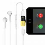 Переходник 2 в 1 для наушников и зарядки iPhone 7, арт.011053 (Черный + желтый)