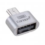 Переходник микро USB - USB(f) Earldom ET-OT01, плоский, металл, OTG, цвет: серебряный