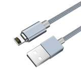 Кабель USB - Apple 8 pin HOCO U40A Magnetic Adsorption, 1.0м, круглый, 2.1A, ткань, магнит, серый