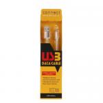 Кабель USB - микро USB Connect CA03, 1.0м, круглый, 2.1A, резина, цвет: белый, с золотой вставкой