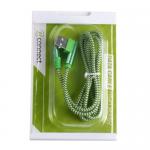 Кабель USB - микро USB Connect F115, 1.0м, круглый, 2.1A, ткань, в переплёте, цвет: зелёный