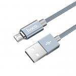 USB кабель HOCO U40A Magnetic Adsorption Micro Charging Cable (L=1M) круглый в оплетке (серый)
