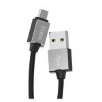 Кабель USB - микро USB HOCO U49 Refined, 1.2м, круглый, 2.4A, силикон, цвет: чёрный