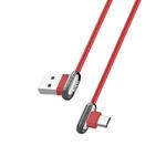 Кабель USB - Micro HOCO U60, 2,4A красный 1,2м (угловой)