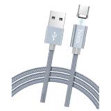 Кабель USB - Type-C FaisON HU40A Magnetic Adsorption, 1.0м, круглый, 2.1A, в переплёте, магнит, серы