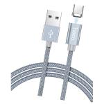 Кабель USB - Type-C HOCO U40A Magnetic Adsorption, 1.0м, 2.1A, ткань, в переплёте, на магните, серый