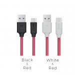 Кабель USB - Type-C HOCO X11 Rapid, 1.2м, круглый, 5A, силикон, цвет: красный, чёрная вставка