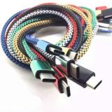 USB кабель 3.1 Type-C плетеный с алюминеевыми концевиками 1 метр (синий-черный).15378