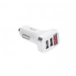 Блок питания автомобильный 2 USB HOCO, Z3, 3100mA, пластик, дисплей, цвет: белый