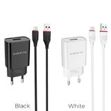 Блок питания сетевой 1 USB Borofone, BA20A, Sharp, 2100mA, пластик, кабель микро USB, цвет: чёрный