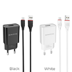 Блок питания сетевой 1 USB Borofone, BA20A, Sharp, 2100mA, пластик, кабель микро USB, цвет: белый