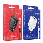 Блок питания сетевой 2 USB Borofone, BA54A, Wide, огнестойкий, QC3.0, кабель микро USB, 1.0м, белый
