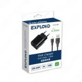 Блок питания сетевой 1 USB Exployd, EX-Z-462, Classic, 1000mA, пластик, кабель 8 pin, цвет: чёрный