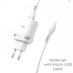 Блок питания сетевой 1 USB HOCO, C12Q, 3000mA, пластик, QC3.0, кабель микро USB, цвет: белый