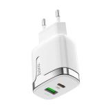 Блок питания сетевой 1 USB, Type-C HOCO, C79A, Zeus, 3100mA, пластик, PD, QC3.0, цвет: белый