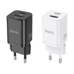 Блок питания сетевой 1 USB, Type-C HOCO, N13, Bright, 2400mA, пластик, QC3.0, PD30W, цвет: белый