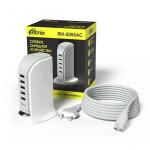 Сетевое ЗУ RITMIX RM-5055 AC, белый, 5xUSB, 2,1 А, мягкий шнур (1/20)