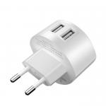 Блок питания сетевой 2 USB HOCO, C67A, Shell, 2400mA, пластик, цвет: белый