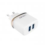 Сетевое зарядное устройство LDNIO DL-AC52 2.4A AvtoID 2 USB выхода с кабелем Lightning (белый)