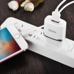Блок питания сетевой 1 USB HOCO, C11, 1000mA, пластик, кабель микро USB, цвет: белый