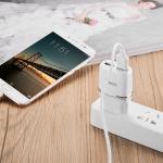 Блок питания сетевой 2 USB HOCO, C12, 2400mA, пластик, кабель Apple 8 pin, цвет: белый