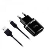Блок питания сетевой 2 USB HOCO, C12, 2400mA, пластик, кабель Apple 8 pin, цвет: чёрный