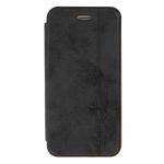 Чехол-книжка Armor Case Book для APPLE iPhone 5/5S/SE, под кожу, с силиконовым креплением, чёрный