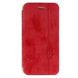 Чехол-книжка Armor Case для APPLE iPhone 5/5S/SE, под кожу, с силиконовым креплением, красный