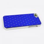 Защитная крышка для iPhone 5/5s/SE ромб со стразами (хром/синяя)