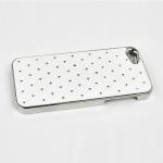 Защитная крышка для iPhone 5/5s/SE ромб со стразами (хром/белая)