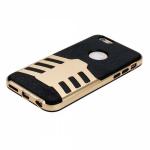 Накладка задняя для APPLE iPhone 5/5S/SE, E76, с силиконовой основой, чёрный, золотой
