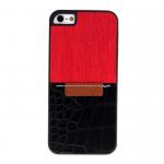 Накладка задняя для APPLE iPhone 5/5S/SE, пластик, с кожаной вставкой, матовая, цвет: красный