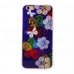 Чехол силиконовый FINITY для APPLE iPhone 5/5S/SE, непрозрачный, глянцевый, синий, бабочки