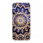 Чехол силиконовый FINITY для APPLE iPhone 5/5S/SE, непрозрачный, глянцевый, синий, с жёлтыми узорами
