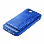 Чехол силиконовый для APPLE iPhone 5/5S/SE, непрозрачный, глянцевый, синий, с карманом для визитки