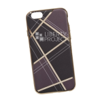 Силиконовый чехол для iPhone 6/6S TPU Клетка коричневая (золотой)