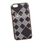 Силиконовый чехол для iPhone 6/6S TPU Клетка с полосками (золотой)