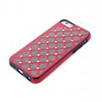 Силиконовый чехол Iphone 6/6S Тканевые ромбики с металлическими точками, красный