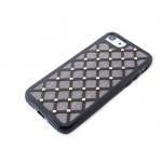 Силиконовый чехол Iphone 6/6S Тканевые ромбики с металлическими точками, черный