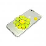 Силиконовый чехол  Iphone 7 Plus Цветок с жидкими блестками желтый
