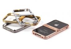 Бампер-подставка металлический со стразами для iPhone 4 арт.008597 серебристый (партия 2)