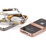 Бампер-подставка металлический со стразами для iPhone 4 арт.008597 черный