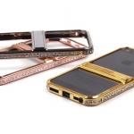 Бампер-подставка металлический со стразами для iPhone 5 арт.008597 черный (партия 2)