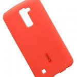 Чехол силиконовый Cherry для LG K10, тонкий, непрозрачный, матовый, цвет: красный