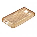 Чехол силикон.для Samsung Galaxy J1 mini с отверстием для шнурка (соты)прозрачно-золотой в техпаке